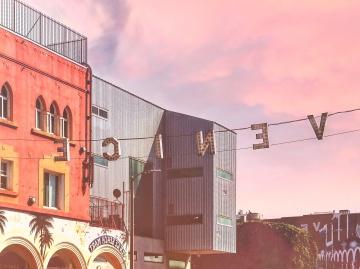 Calle, señal, puesta de sol, arquitectura, ciudad, urbano
