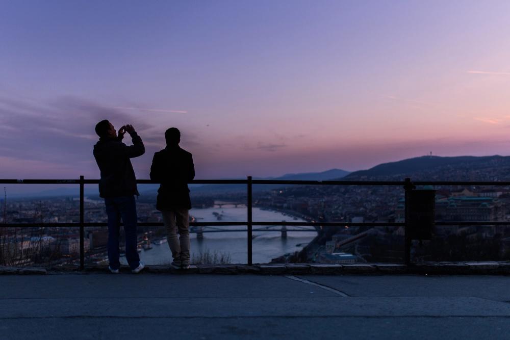 silhouette, sunset, landscape, sky, town, people, men