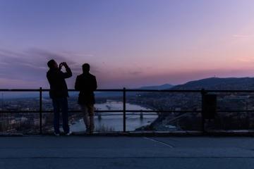 silhuett, solnedgång, landskap, himmel, stad, människor, män