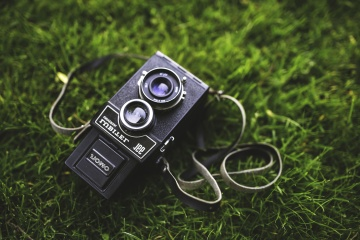 old, photo camera, grass, technology, equipment, camera