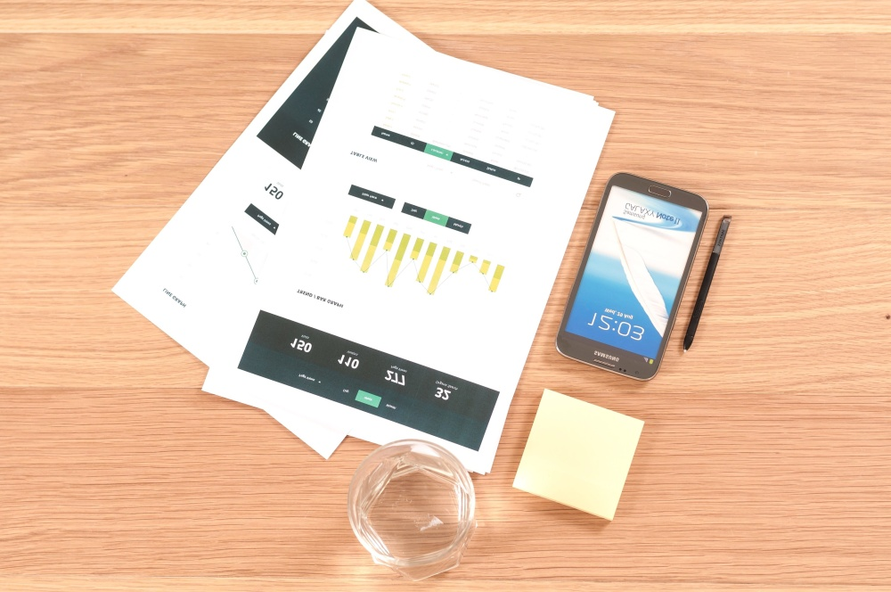 chart, paper, mobile phone, pencil