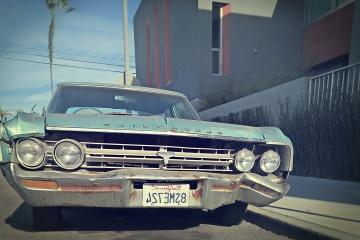 Vecchio, ruggine, vecchio, retro, faro, auto, veicolo