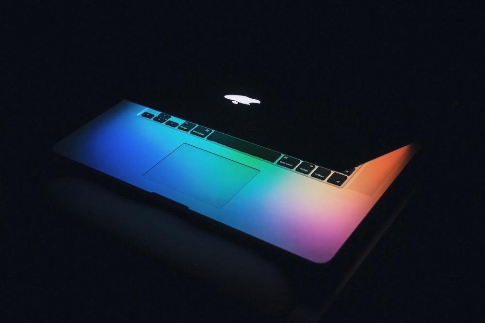 laptop computer, dark, illumination, dark