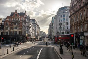 stad, trafikljus, gata, buss, downtown, människor, publiken, arkitektur