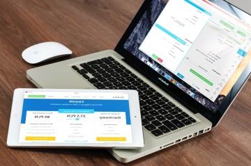 bærbar computer, internet, teknologi, office, business, skrivebord, webdesign