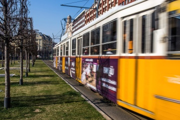yellow, streetcar, vehicle, urban, town, street, station