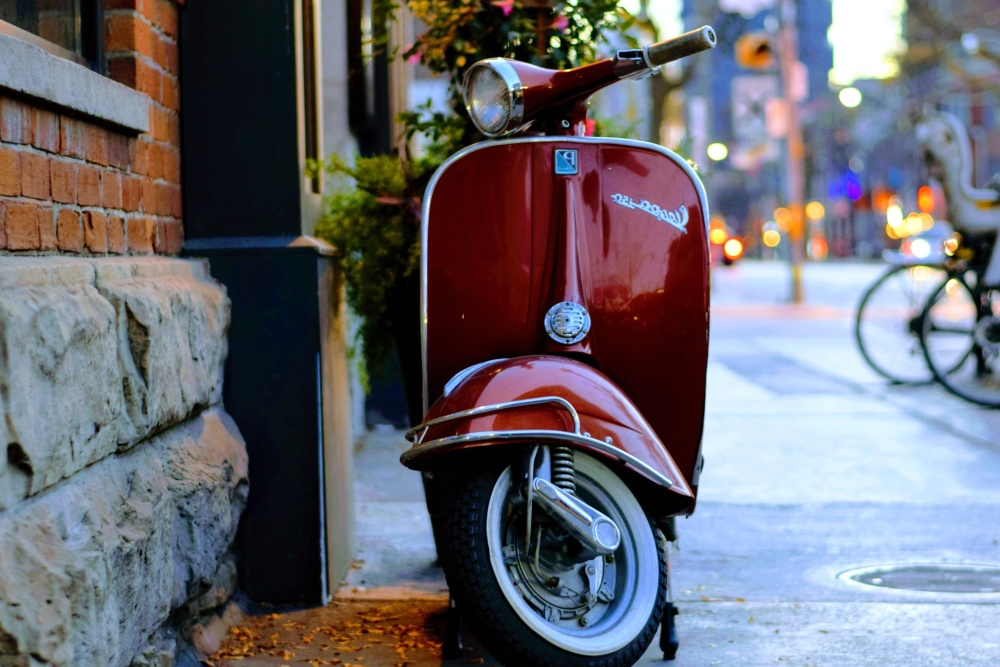 red, street, vehicle, conveyance, moped, motorcycle