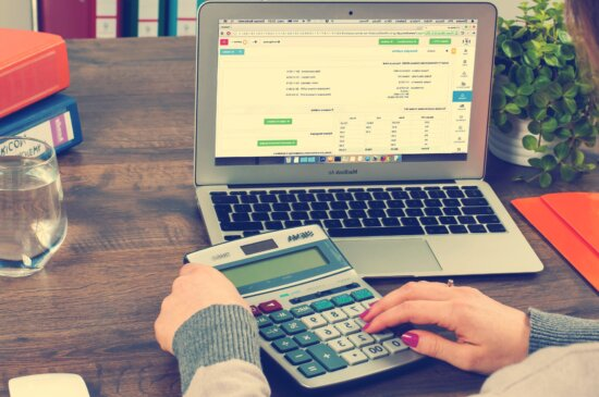calculator, laptop computer, computer keyboard, technology, business, office, internet