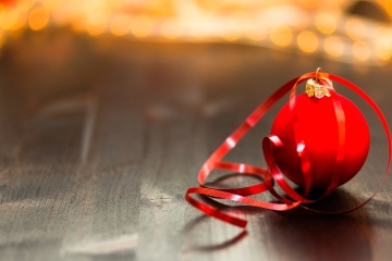 Nastro rosso, ornamento, natale, decorazione