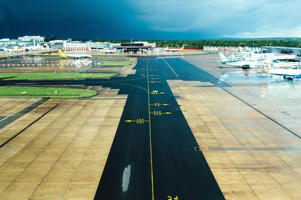 airport, runway, aircraft, road, urban, asphalt, transport