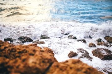 Mar, orilla, onda, puesta del sol, playa, agua, costa, paisaje, verano
