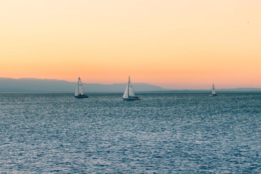 sailboat, sunset, sea, ocean, water, sky