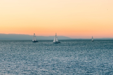 sailboat, sunset, sea, ocean, water, sky