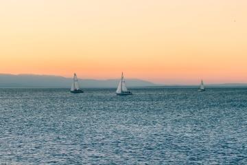 perahu layar, matahari terbenam, laut, laut, air, langit