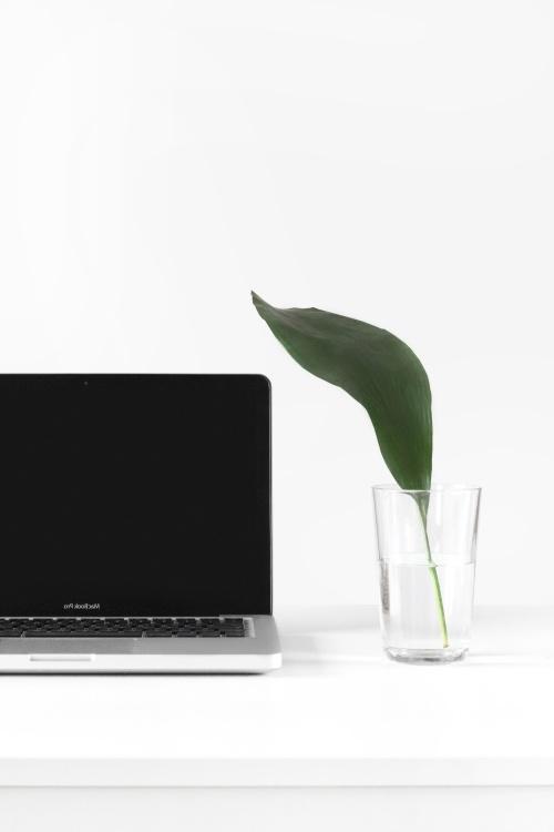 minimal design, bærbar computer, glas, vand