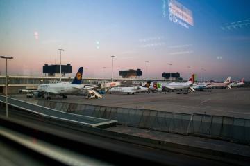 Aeropuerto, puesta del sol, aeroplano, vehículo, transporte
