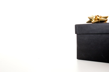 černá, dar, box