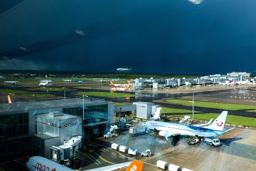airport, storm, city, garage