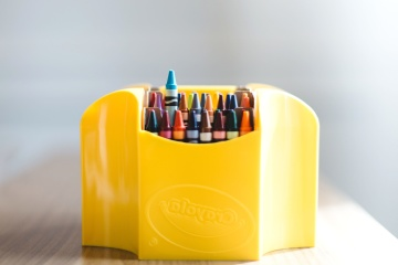 Coloré, crayon, boîte, objet, peinture