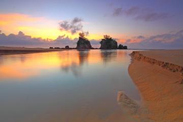 ビーチ、夜明け、海、水、砂、夕日、海岸、太陽、空、風景