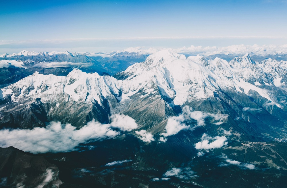 mountain, snow, glacier, ice, landscape, winter, cold, sky