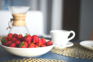 fresh, organic, strawberry, cup, breakfast, tableware