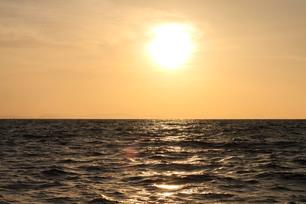 sea, sunset, sun, wave, ocean, horizon, dusk