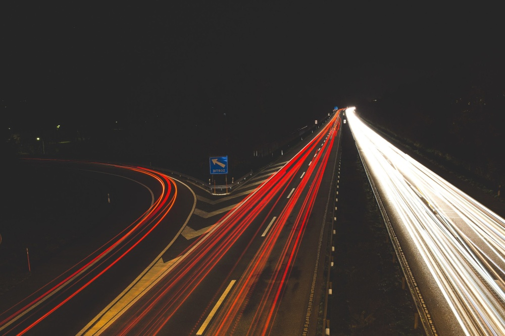 highway, night, transport, speed, travel, asphalt, motion
