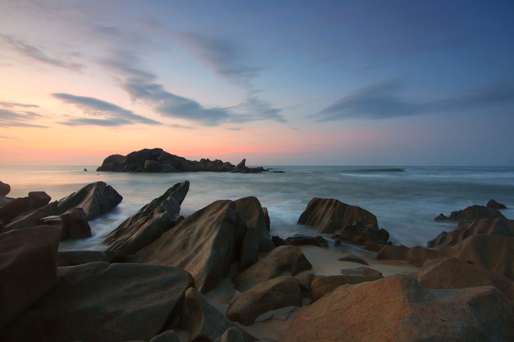 beach, sunset, ocean, sea, shore, coast, water, landscape