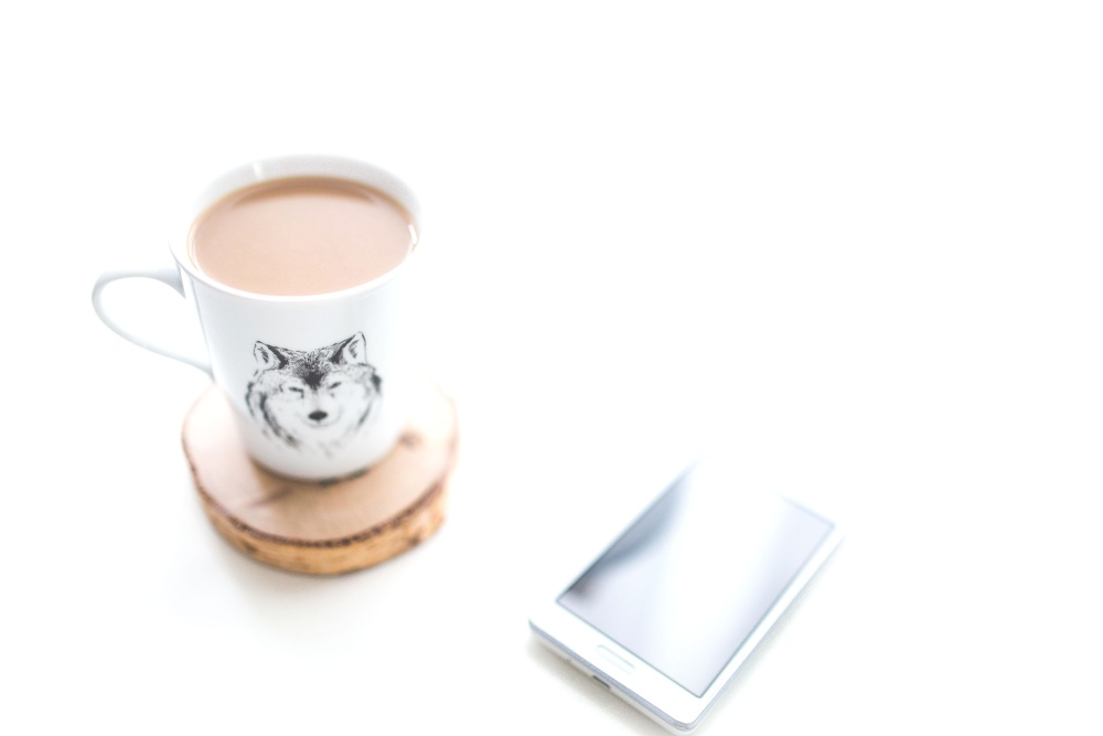 mobile phone, mug, beverage, coffee mug, drink