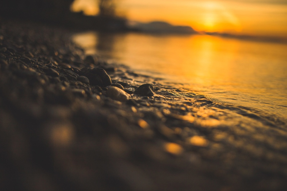 sea, beach, water, shore, sunset, landscape, horizon, sunset
