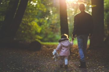 father, daughter, forest, walk, childhood, child, family