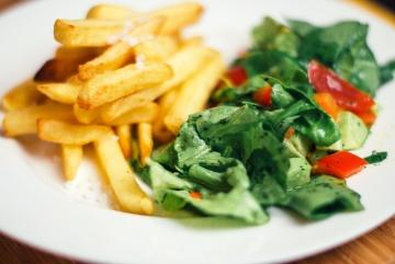 batata frita, salada, dieta, alimento, vegetal, refeição, alface, aperitivo, vegetariano