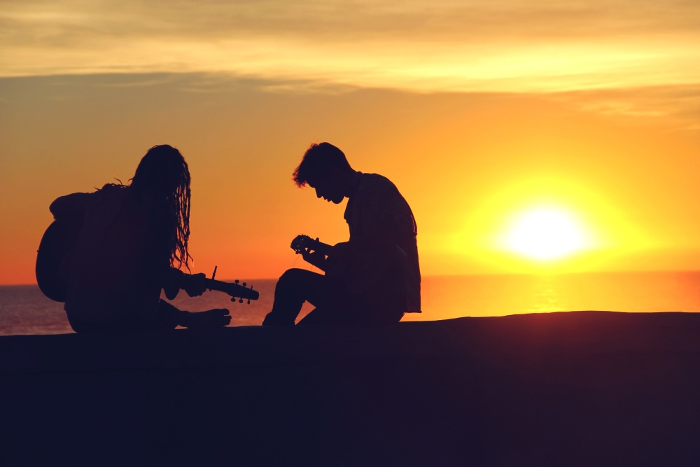 woman, man, silhouette, guitar, sunset, sun, sky