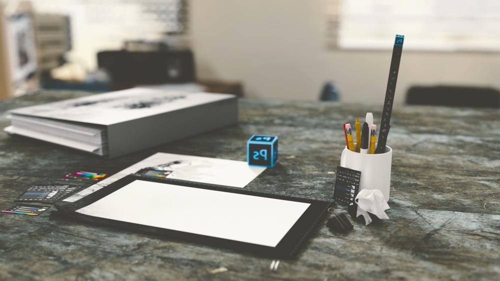 desk, portable computer, book, pencil, paper, office