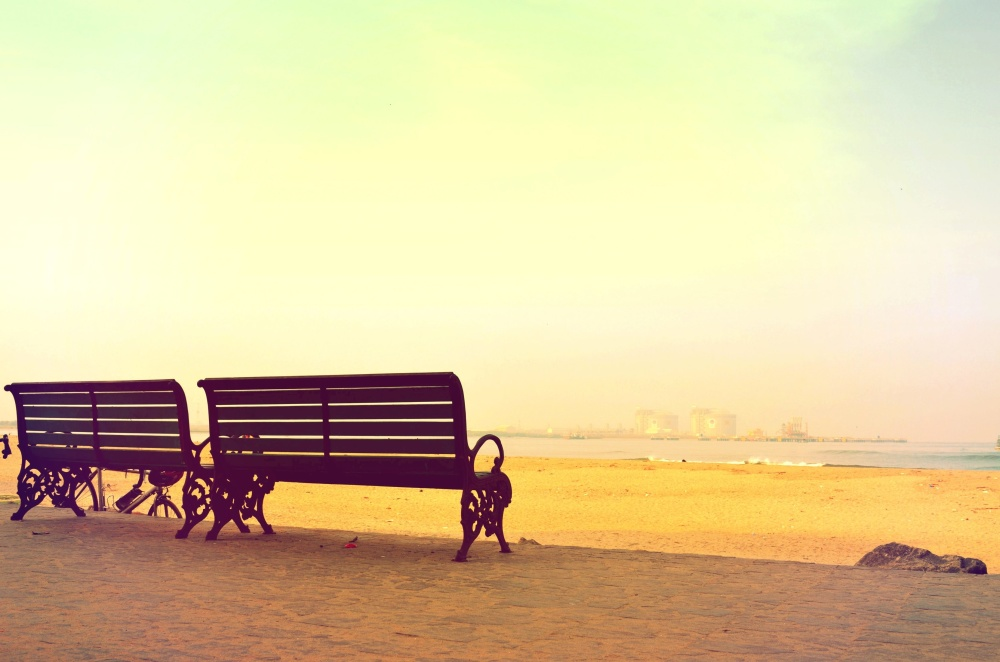 beach, bench, summer, sunshine