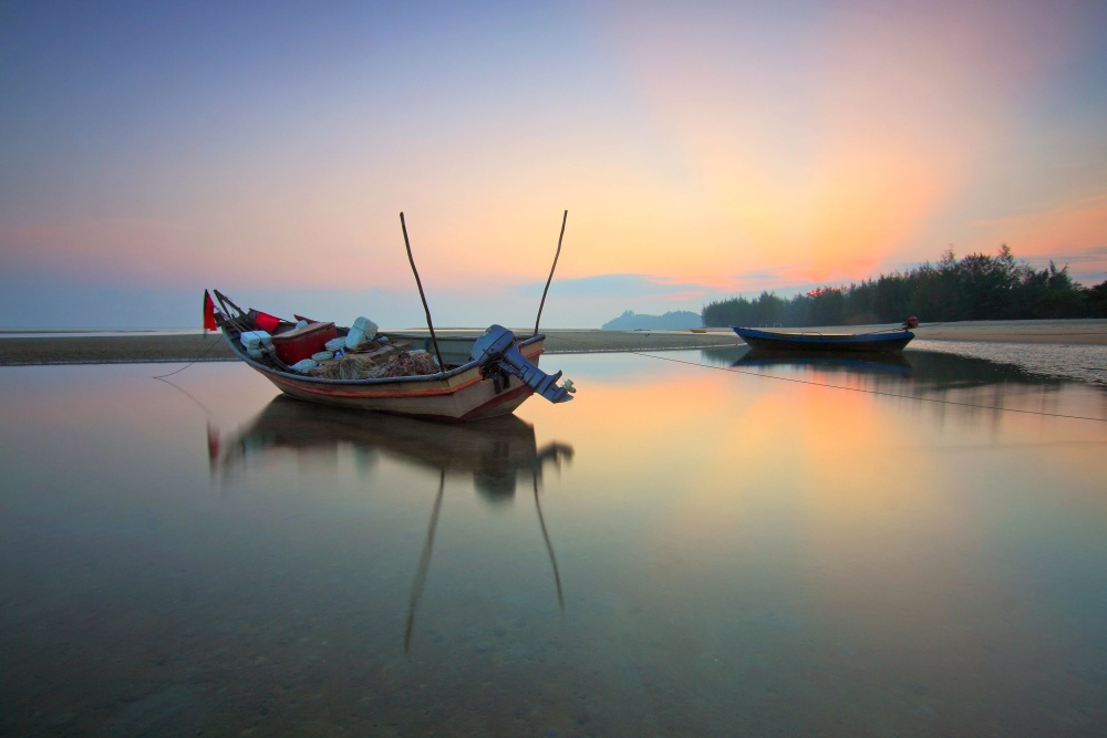 fishing boat, landscape, water, sunset, sea, water