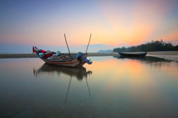 fishing boat, landscape, water, sunset, sea, water