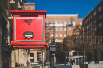 röd, postlåda, gamla, antika, objekt