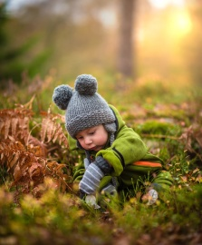 child, boy, forest, grass