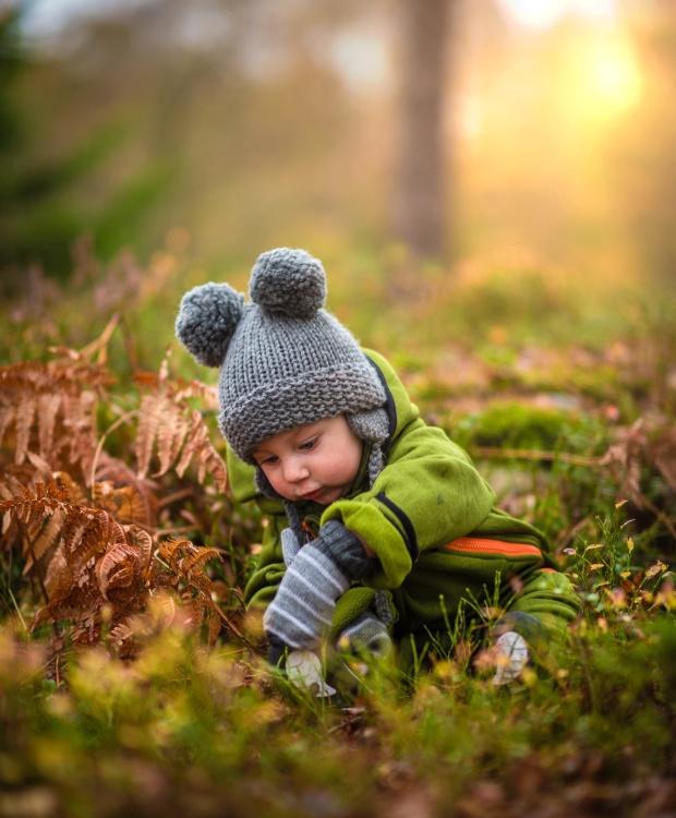 child, boy, forest, grass
