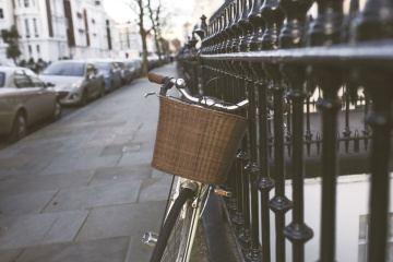 wicker basket, classic bicycle, street, iron, fence