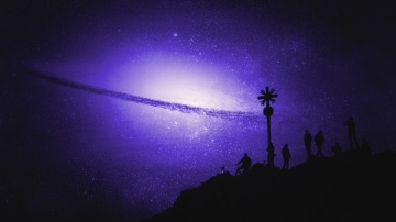 night, silhouette, star, people, universe, photomontage