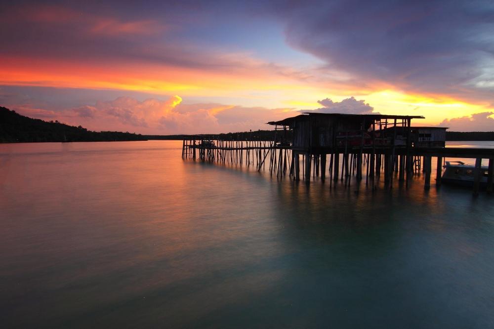 duek, sea, sunset, waterfront, water, pier, sunset, harbour