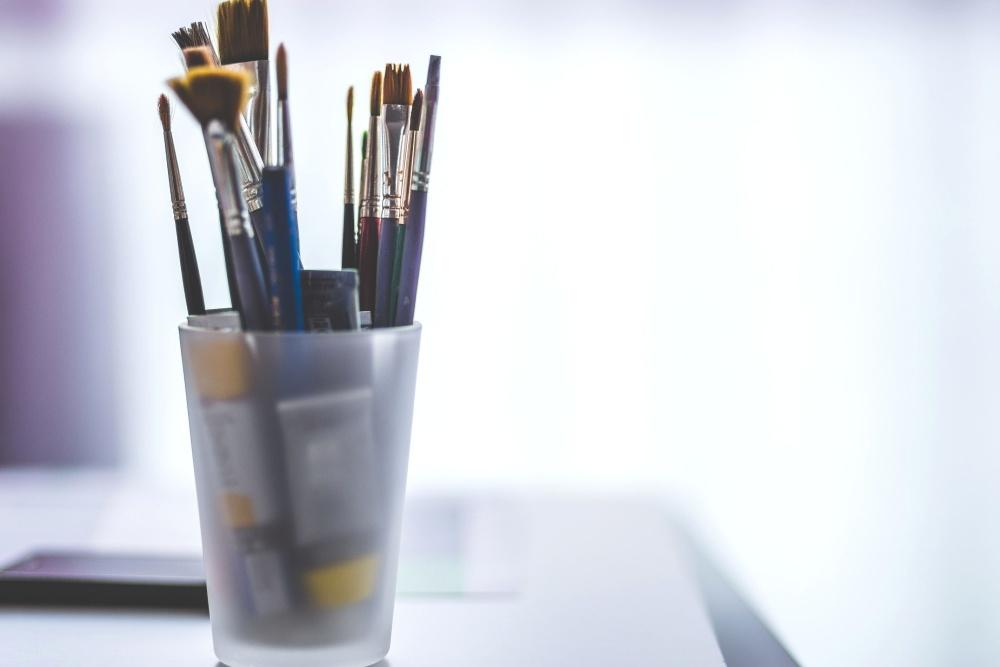 art studio, paint brush, glass, object, tool