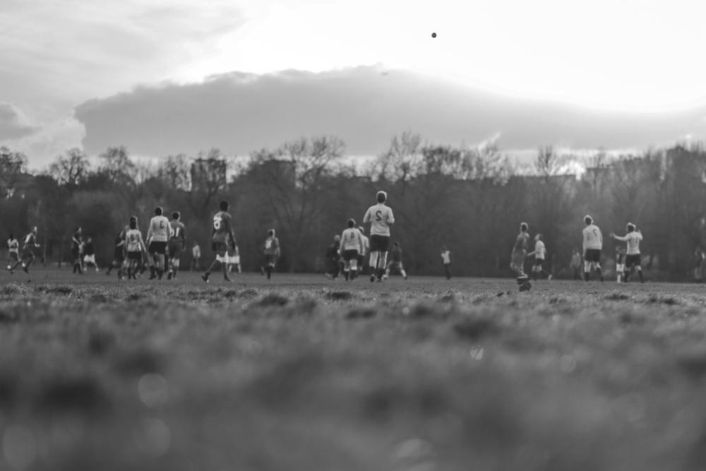football, team, football player, grass, sky