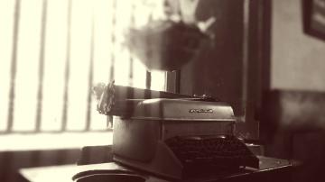 Machine à écrire, bureau, machine, objet