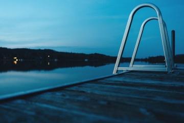 rijeke, noću, dok, vode, krajolik, jezera