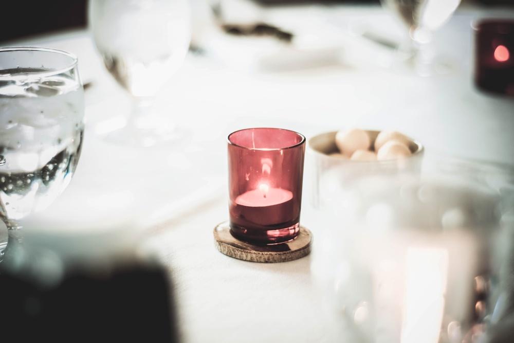 Ancora vita, candela, vetro, decorazione, luce