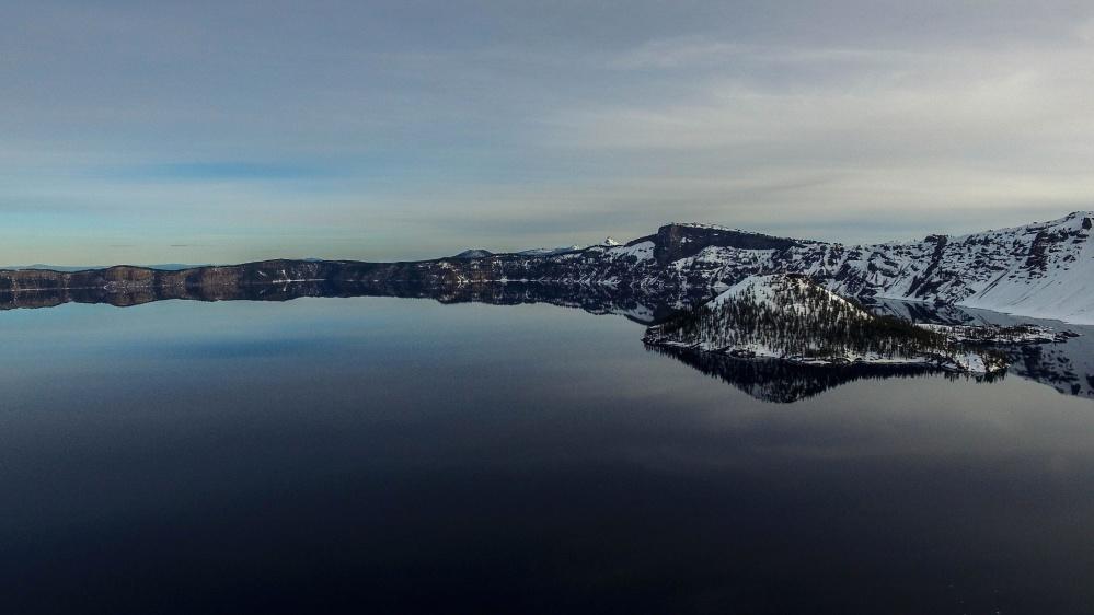 montanha, céu, paisagem, lago, reflectio, inverno, neve, paisagem, gelo